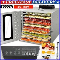 1000W 10 Tray Commercial Food Dehydrator Stainless Steel Fruit Meat Jerky Dryers