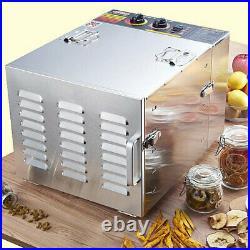 1000W Commercial 10 Tray Stainless Steel Food Dehydrator Fruit Meat Jerky Dryer
