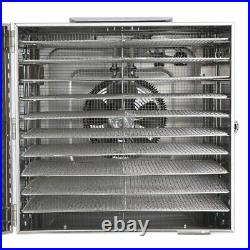 10 Tray Food Dehydrator Stainless Fruit Jerky Dryer Blower Commercial 1000W US
