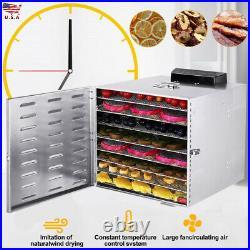 10 Tray Food Dehydrator Stainless Steel Fruit Jerky Dryer Blower Commercial