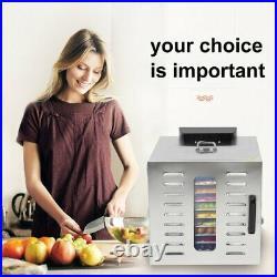 10 Tray Food Dehydrator Stainless Steel Fruit Jerky Dryer Blower Commercial US