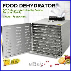 10 Tray Stainless Steel Food Dehydrator Jerky Fruit Vegetable Dryer Blower US