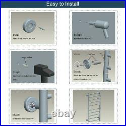 10-bar Stainless Steel Wall Mounted Heated Towel Warmer Dryer Rack Bathroom
