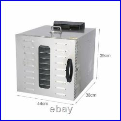 10layer Household Stainless Steel Food Dehydrator LED Fruit Vegetable Dryer US