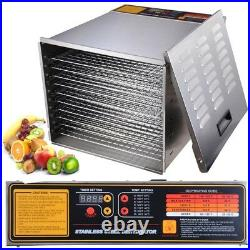 1200W 10 Tray Stainless Steel Commercial Food Dehydrator Beef Jerky Fruit Dryer