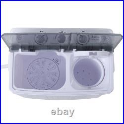 16.5lb Mini Washing Machine Compact Twin Tub Washer Spin&Dryer fr Dorm Apartment