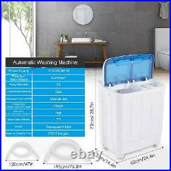 16.7lbs Portable Mini Twin Tub Compact Washing Machine Washer Spin Dryer With Hose