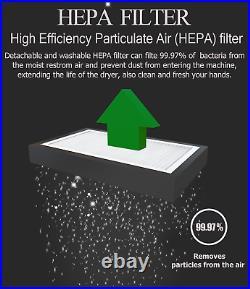 2Pack JETWELL Upgrade HEPA Filter HighSpeed StainlessSteel Coml Auto Hand Dryer