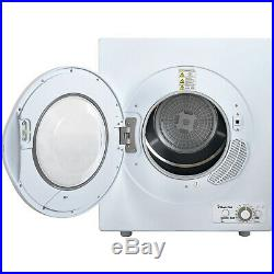 2.6 cu ft Compact Electric Dryer, White Portable Stainless Steel Tub Sensor Dry