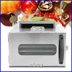 400W Commercial Food Dehydrator 6 Tray Stainless Steel Fruit Meat Jerky Dryer