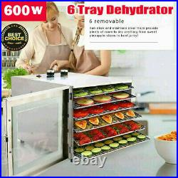 6Tier-Food Dehydrator, Stainless Steel Fruit Jerky Meat Dryer Blower Commercial