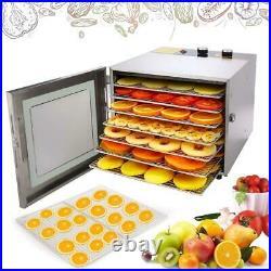 6/5Tier-Food Dehydrator Stainless Steel Fruit Jerky Meat Dryer Blower-Commercial