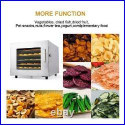 6/5Tier Food Dehydrator Stainless Steel Fruit Jerky Meat Dryer Blower Commercial