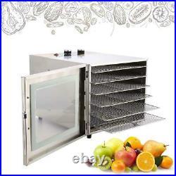 6/5Tier-Food Dehydrator Stainless Steel Fruit Jerky Meat Dryer Blower Commercial