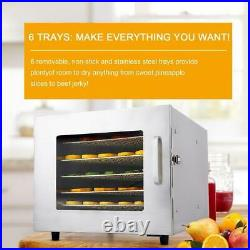 6`Tier Food Dehydrator, Stainless Steel Fruit Jerky Meat Dryer Blower Commercial