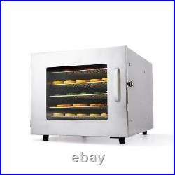 6\Tier-Food Dehydrator, Stainless Steel Fruit Jerky Meat Dryer Blower Commercial
