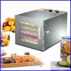 6-Tier Premium Electric Stainless Food Dehydrator Fruit Dryer Meats Preserver