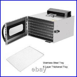 6 Tray Food Dehydrator Fruit Dryer Vegetable Jerky Stainless Steel Machine 110V