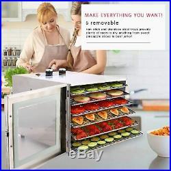 6-Tray Food Dehydrator Machine Stainless Steel Racks Fruit Meat Jerky Dryer