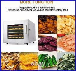 6 Tray Food Dehydrator Machine Stainless Steel Racks Healthy Fruit Jerky Dryer
