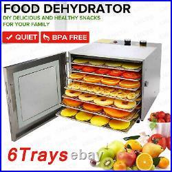 6 Tray Food Dehydrator Machine Stainless Steel Racks Healthy Fruit Jerky x 01