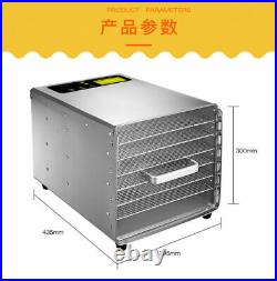6 Tray Household Dried Fruit Machine Stainless Steel Fruits Vegetable Dryer 110V