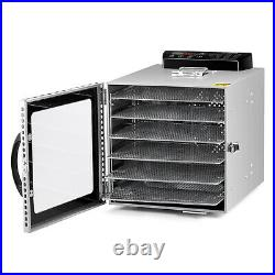 6 Trays Stainless Steel Food Dehydrators Commercial Fruit Dryer with LED light
