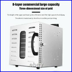 8 Layers Tray Fruit Food Dehydrator Meat Dryer Blower Machine Stainless Steel