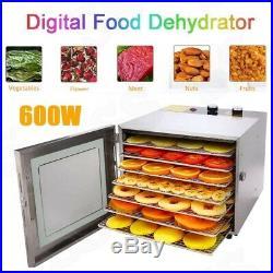 8 Tray Electric Food Dehydrator Machine Beef Jerky Snack Fruit Dryer Meat Maker