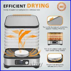 8 Trays Food Dehydrator Machine Fruit Dryer Beef Meat 400W Timer & Temp. Control