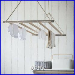 Beech Wooden Stainless Steel Pulley System Ceiling Clothes Horse Airer Air Dryer