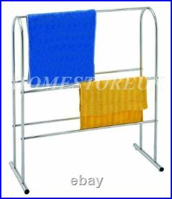 Chrome Plated Free Floor Standing Towel Clothes Rack Rail Stand Horse Dryer 9259