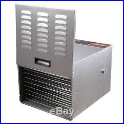 Commercial 10Tray Stainless Steel Food Dehydrator Fruit Meat Jerky Dryer Machine