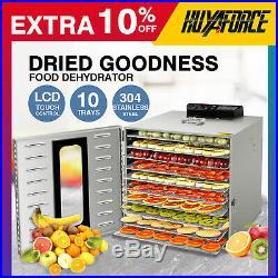 Commercial 10 Tray Stainless Steel Food Dehydrator Fruit Meat Jerky Dryer US