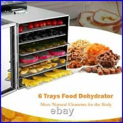 Commercial 5/6/8 Tray Stainless Steel Food Dehydrator Fruit Meat Jerky Dryer US