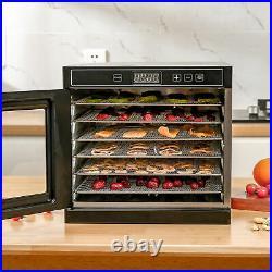 Commercial 6 Trays Food Dehydrator Fruit Dryer Beef Jerky Stainless Steel 600W