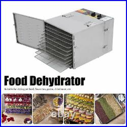 Commercial Food Dehydrator 10 Tray Stainless Steel 55L Fruit Meat Jerky Dryer US