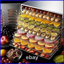 Commercial Food Dehydrator 10 Tray Stainless Steel Fruit Meat Jerky Dryer 1000W