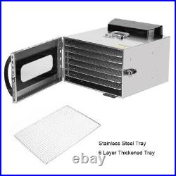 Commercial Food Dehydrator 6 Tray Stainless Steel Fruit Meat Jerky Dryer USA