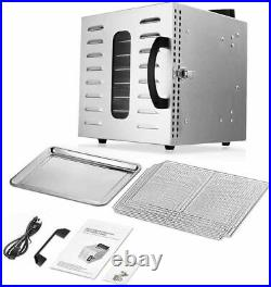 Commercial Food Dehydrator 8 Tray Stainless Steel Fruit Meat Jerky Dryer US