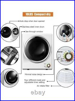 Compact Laundry Dryer, 110V Electric Portable Clothes Dryer, Stainless Steel Tub