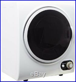 Electric Dryer 1.5 cu. Ft. White Compact Stainless Steel Drum Door Window