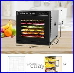 Electric Food Dehydrator Machine Fruit Beef Maker Dryer Stainless Steel 8 Trays