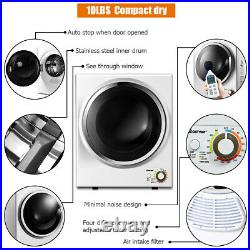Electric Tumble Compact Cloth Dryer Stainless Steel Wall Mounted 1.5 cu. Ft