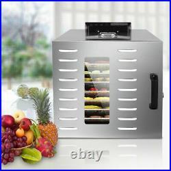 Food Dehydrator 10 Tray Stainless Steel Fruit Jerky Meat Dryer Blower Commercial