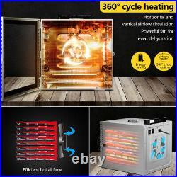 Food Dehydrator 6/10/12 Trays Stainless Steel Fruit Jerky Meat Dryer Commercial