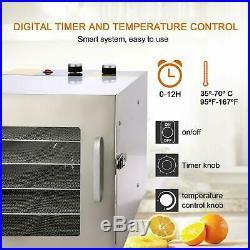 Food Dehydrator 6-Tiers Stainless Steel Fruit Jerky Meat Dryer Blower US Stock