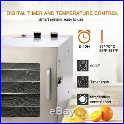 Food Dehydrator 6-Trays Stainless Steel Fruit Jerky Meat Dryer Blower Commercial