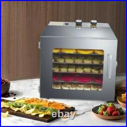 Food Dehydrator Machine 6 Trays Stainless Steel Fruit dryer with Digital Timer