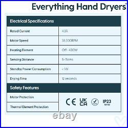 Hand Dryer Handsfree Automatic Bathrooms Washrooms Schools Retail Black 750W